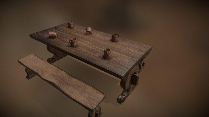 Tavern Wooden Bench 3D Model