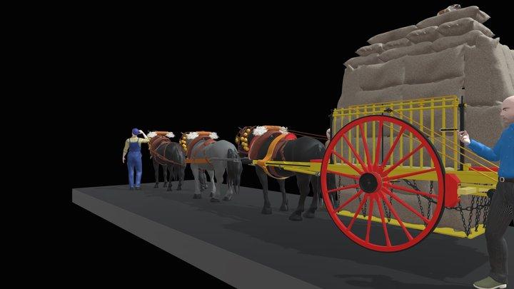 CARRO DE PAGÈS AMB TIR DE TRES CAVALLS 3D Model