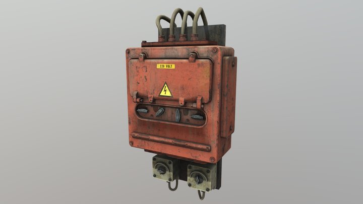 Low Poly Electricity Box 07 3D Model
