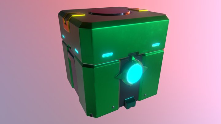 Green Loot Box 3D Model