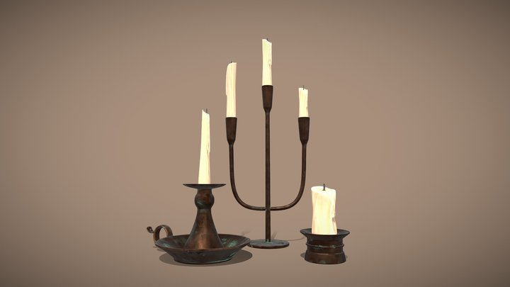 Medieval Candle Holders 3D Model