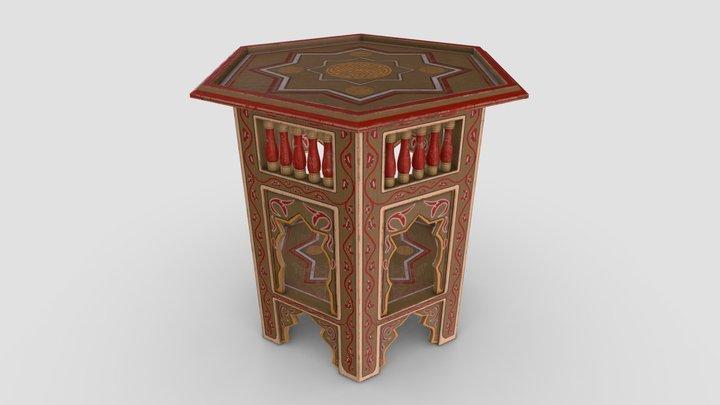 Painted Table Arabic Design 3D Model