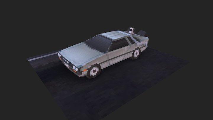Low-poly DeLorean 3D Model