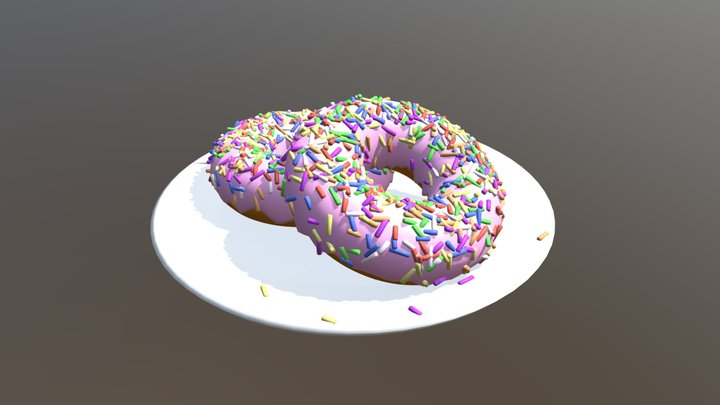 Donuts on a plate 3D Model