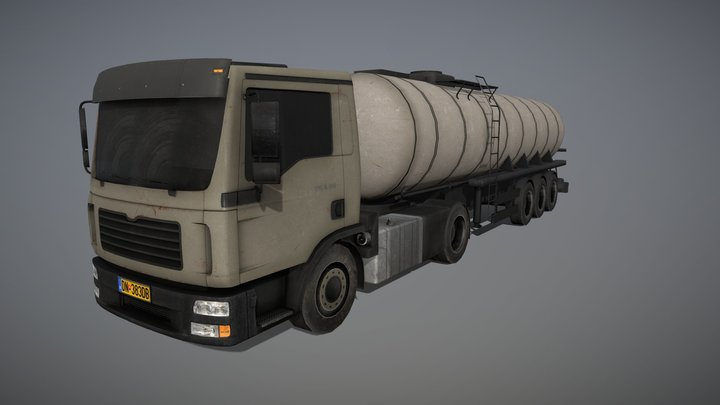 Low Poly Truck With Trailer 3D Model