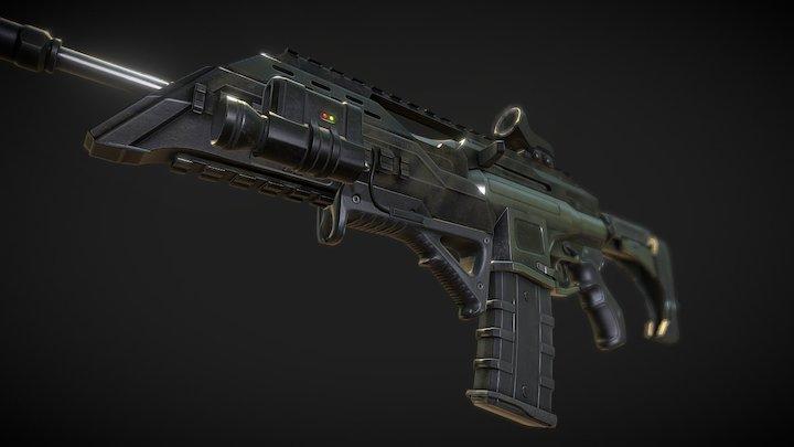 Assault Rifle Mk4 (game ready) 3D Model