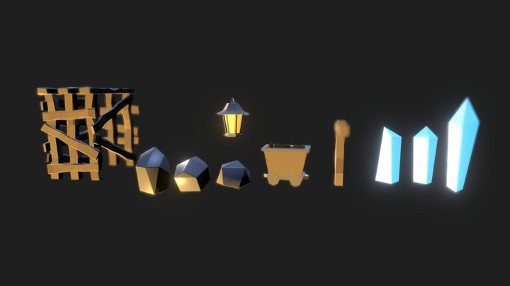 Mine Cave Models 3D Model