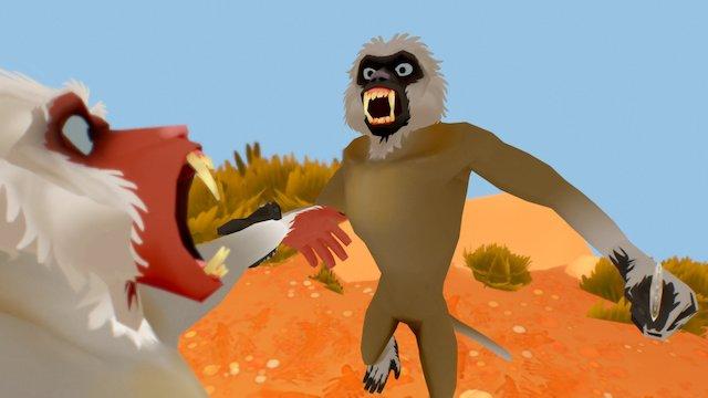 Monkey Knife Fight 3D Model