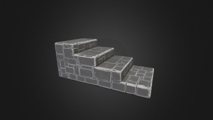Steps Stone Straight Low 3D Model