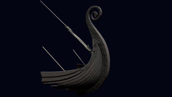 Viking ship nose carvings 3D Model