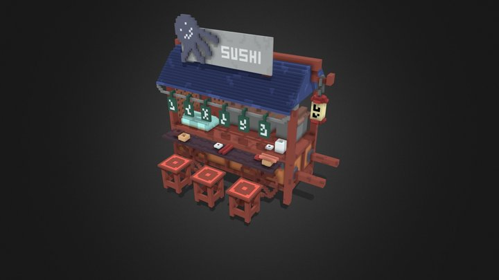Voxel Stand of Sushi - JapaneseFood 3D Model