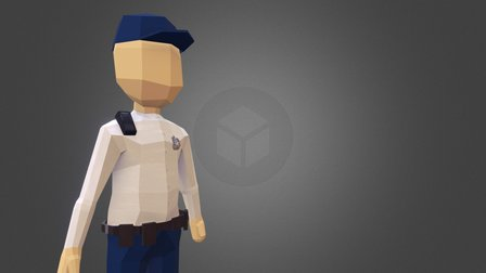Low poly zoo guard 3D Model