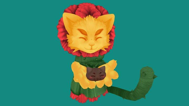 Floral Cat 3D Model