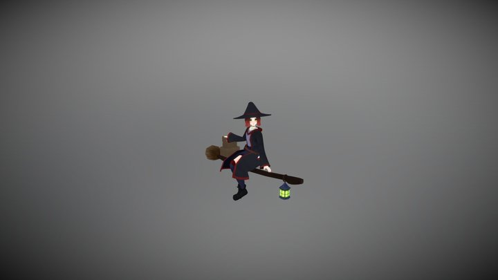 Vroom Broom: Witch character and vehicle. 3D Model