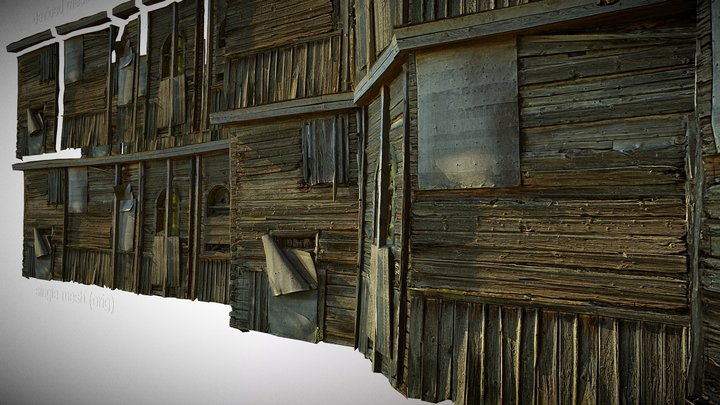 Modular wooden wall. old, rotten and crumbling 3D Model