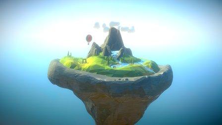 Low-poly Floating Landscape 3D Model