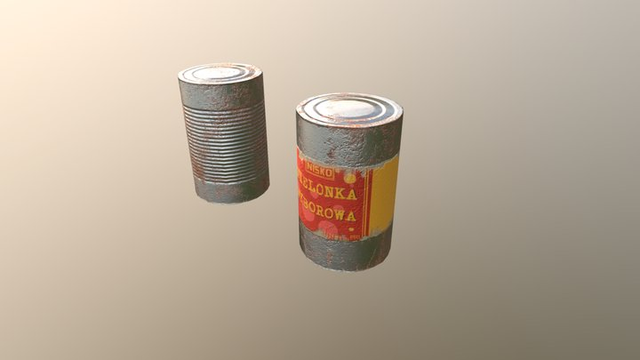 Old meat cans Low Poly 3D Model