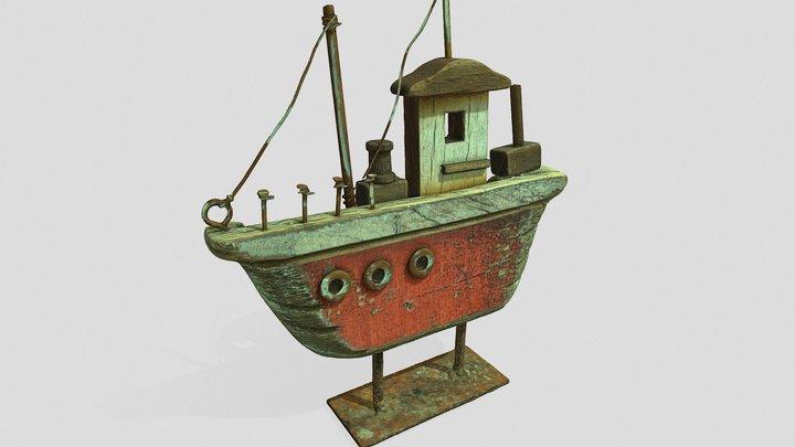 ornamental wooden boat 3D Model