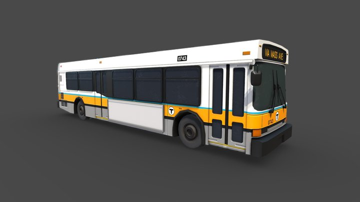 City Bus [MBTA Colors] 3D Model