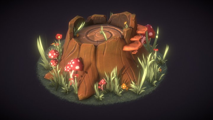 Stylized Tree Stump - Agustin Hönnun 3D Model