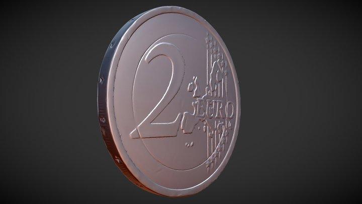 2 Euro coin 3D Model