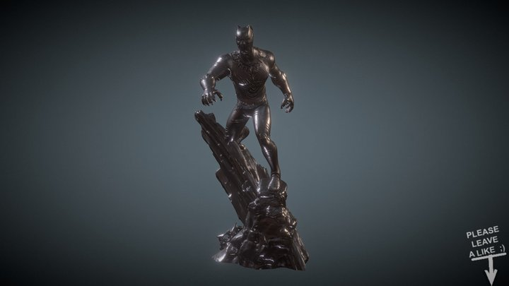 BLACK PANTHER INSPIRITED DIORAMA FOR 3DPRINTING 3D Model