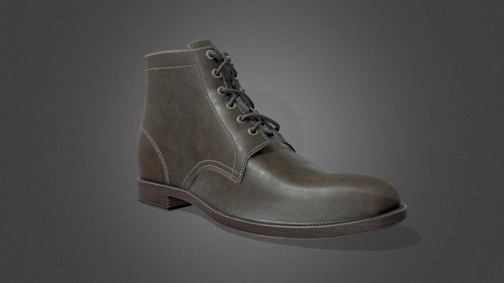 Leather Boot - Tutorial Included 3D Model