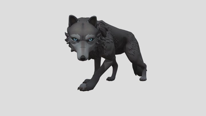 Game ready rigged wolf 3D Model