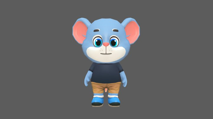 Mouse Rat Rodent Blue Animated Rigged 3D Model