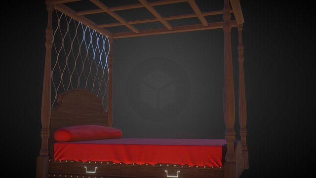 four post classic bed 3D Model