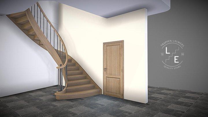 Een landelijke eiken trap 3D Model