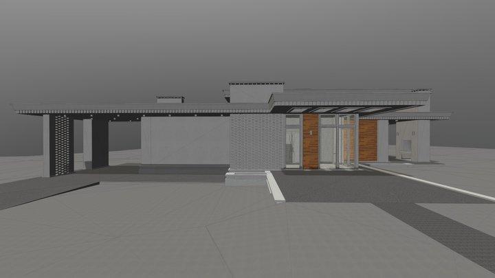 Простой одноэтажный дом без гаража 3D Model