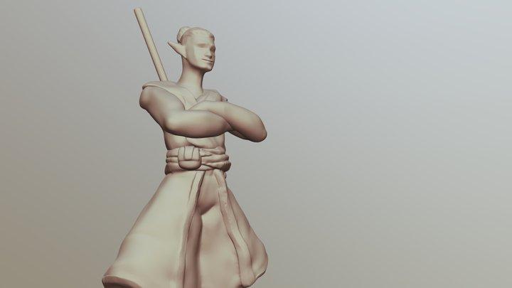 Elf Monk D&D Mini 3D Model