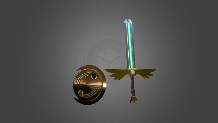 Winged Blade and Flowing Crescent Shield 3D Model
