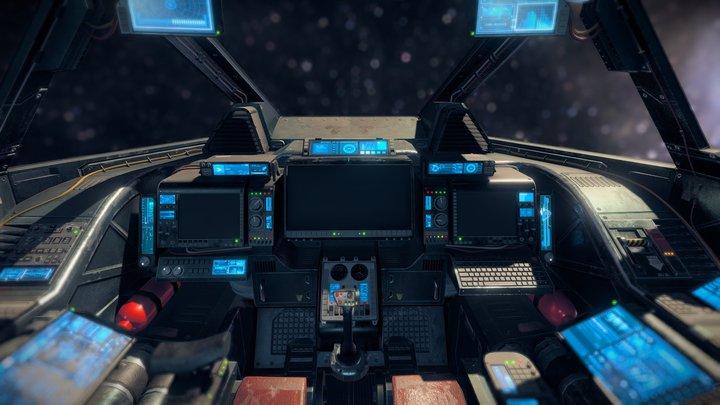 Sci fi Cockpit 1 Heavy Fighter 3D Model