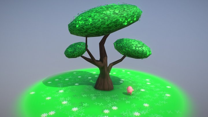 Little Guy Running Around a Tree 3D Model