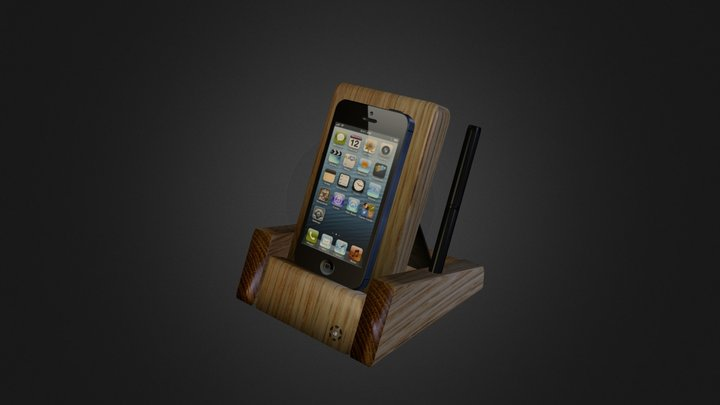 Wooden iPhone stand Apple-Tre3 with accesories 3D Model