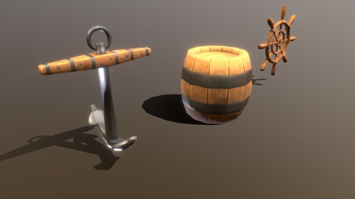 Pirate anchor, barrel and the ships steer 3D Model