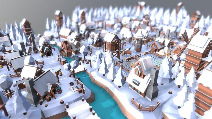 """Fantasy Village """"Winter"""" 3D Model"""