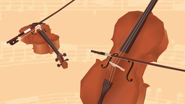 Violin & cello 3D Model