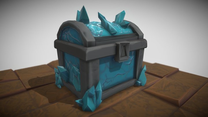 Stylized Ice Crystal Chest 3D Model