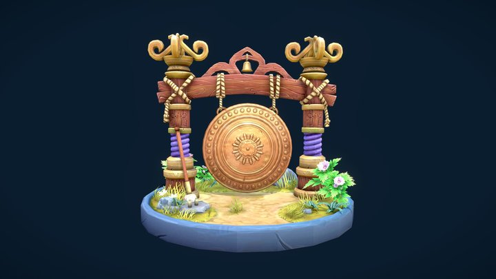 Stylised Gong Diorama 3D Model