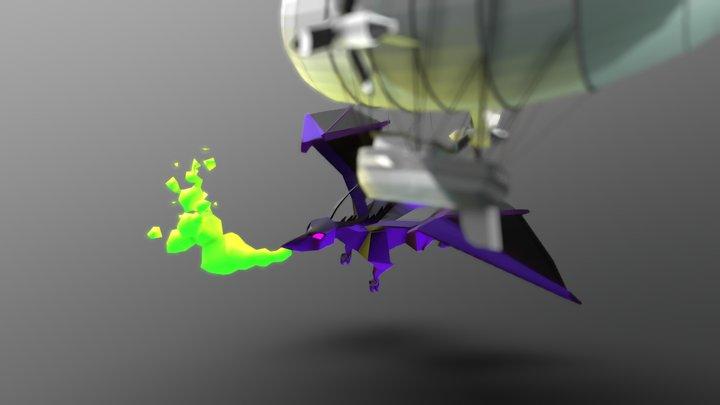 Dragon Vs Airship 3D Model