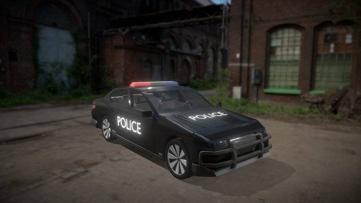 low poly police car 3D Model