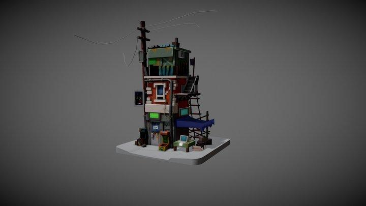 3D Model - Retro postapo buildings 3D Model