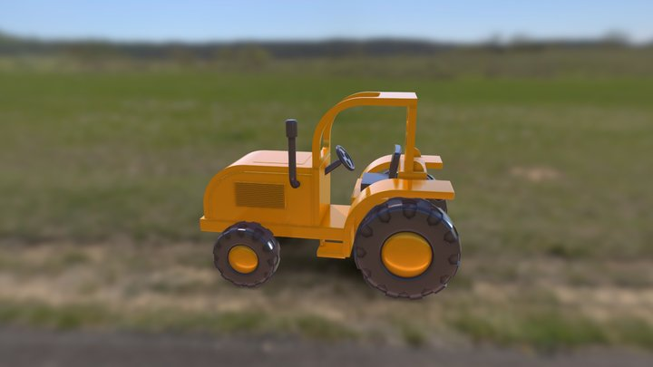 Small yellow plastic tractor 3D Model