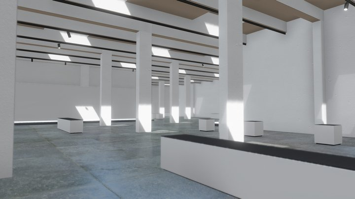 Minimalistic VR Showroom Gallery for products 3D Model