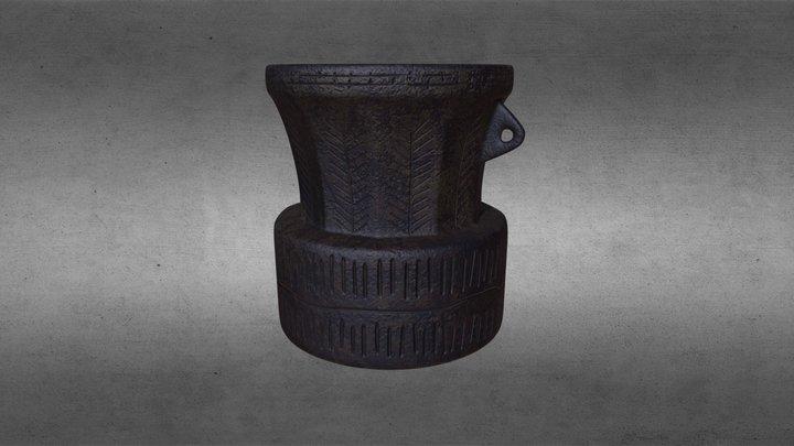 African hardwood mortar. 3D Model