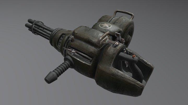 Caseless cartridge minigun 3D Model