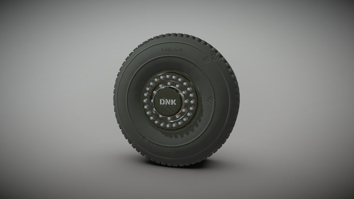 Military Tire Textured 3D Model